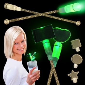 Green LED Cocktail Stirrers - 9 Inch, 12 Pack