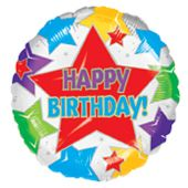 "Happy Birthday Star Birthday 18"" Balloon"