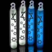 "6"" Star Of David   Glow Sticks   Blue Or White"