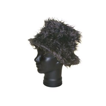 Black Plush Shag Hat