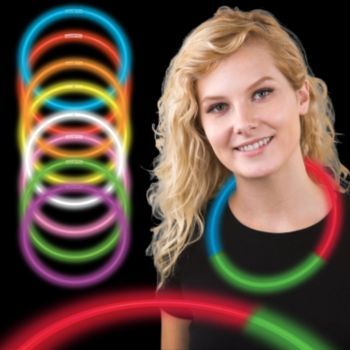 Green, Red, and Blue Tri Color Glow Necklaces - 22 Inch, 50 Pack
