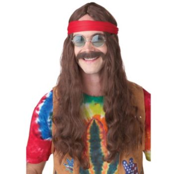 Hippie Man (Brown) Adult Wig and Moustache
