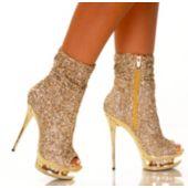 Gold Rhinestone Sparkle Platform Women's Boots - Size 8
