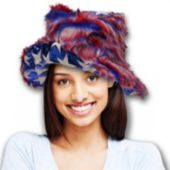 Red White And Blue Fuzzy Patriotic Bucket Hat