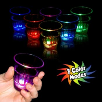 Flashing Multi-Color Rainbow LED Shot Glass - 2 Ounce