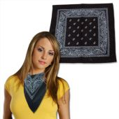 Black Cotton Bandanas- 12 Pack