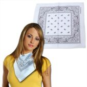 White Cotton Bandanas - 12 Pack