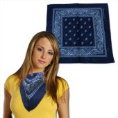 Blue Cotton Bandanas - 12 Pack