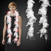 White Feather Boa With Red LED's