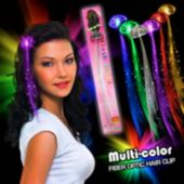 Multi-Color Fiber Optic LED Hair Clip - 13 Inch