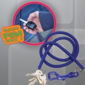 "Blue Plastic 23"" Coil Key Chain with Clip – 12 Pack"