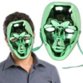 Green Metallic Full Face Mask - 12 Pack