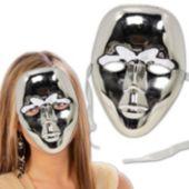 Silver Metallic Full Face Masks - 12 Pack