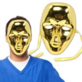 Gold Metallic Full Face Masks - 12 Pack
