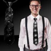 Black Sequin LED and Light-Up Necktie