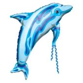 "Blue Dolphin Metallic 37"" Balloon"