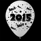 "2015 White 14"" Balloons - 25 Pack"