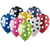"Polka Dot Assorted Color 12"" Latex Balloons - 50 Per Unit"