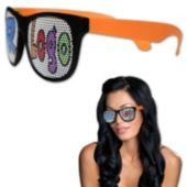 Neon Orange Party Custom Sunglasses-12 Pack