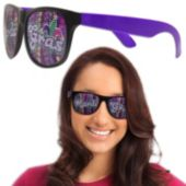 Neon Purple Mardi Gras Billboard Sunglasses