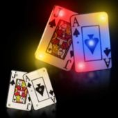 Flashing Blackjack Spade Cards LED Blinkies - 12 Pack