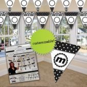 Black and White Brocade Personalized Banner Kit