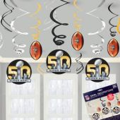 Super Bowl 50 Hanging Swirl Decorations - 12 Pack