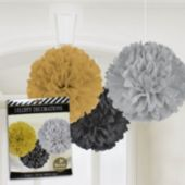 Silver, Black and Gold Fluffy Decorations - 3 Pack