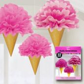 "Pink Ice Cream Cone Fluffy 12"" Decorations – 3 Pack"