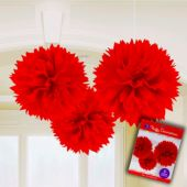 "Red Fluffy 16"" Decorations - 3 Pack"