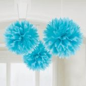 Blue Fluffy Balls Decoration-3 Pack