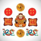 Chinese New Year Glitter Cutouts - 9 Per Unit