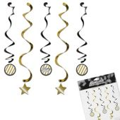 Black & Gold Birthday Danglers with Stickers - 5 Per Unit
