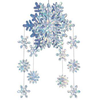 Snowflake hanging decoration windy city novelties for 3d hanging snowflake decoration