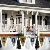 Black, Silver and Gold Graduation Garland