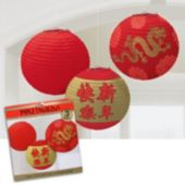 Red and Gold Chinese New Year Lanterns - 3 Pack