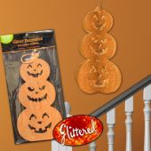 Pumpkin Stack Glitter Decoration – 11.5 Inches