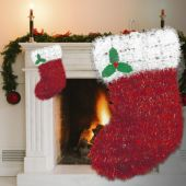 Christmas Stocking Tinsel Decoration