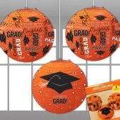 Orange Congrats Grad Lanterns-3 Per Unit