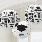 White Congrats Grad Lanterns-3 Per Unit