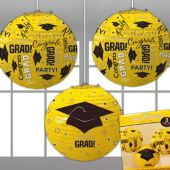 Yellow Congrats Grad Lanterns-3 Per Unit