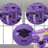 Purple Congrats Grad Lanterns-3 Per Unit
