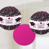 Pink & Black Congrats Grad Lanterns-3 Pack