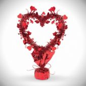 Red Metallic Heart Centerpiece-14""