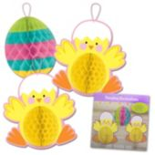 Chicks and Egg Hanging Honeycomb Decorations - 3 Pack