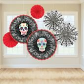 Day of the Dead Fan Decorations - 6 Per Unit