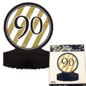 "90th Black & Gold Centerpiece - 12"""
