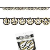 Black & Gold Happy Birthday Banner - 10'