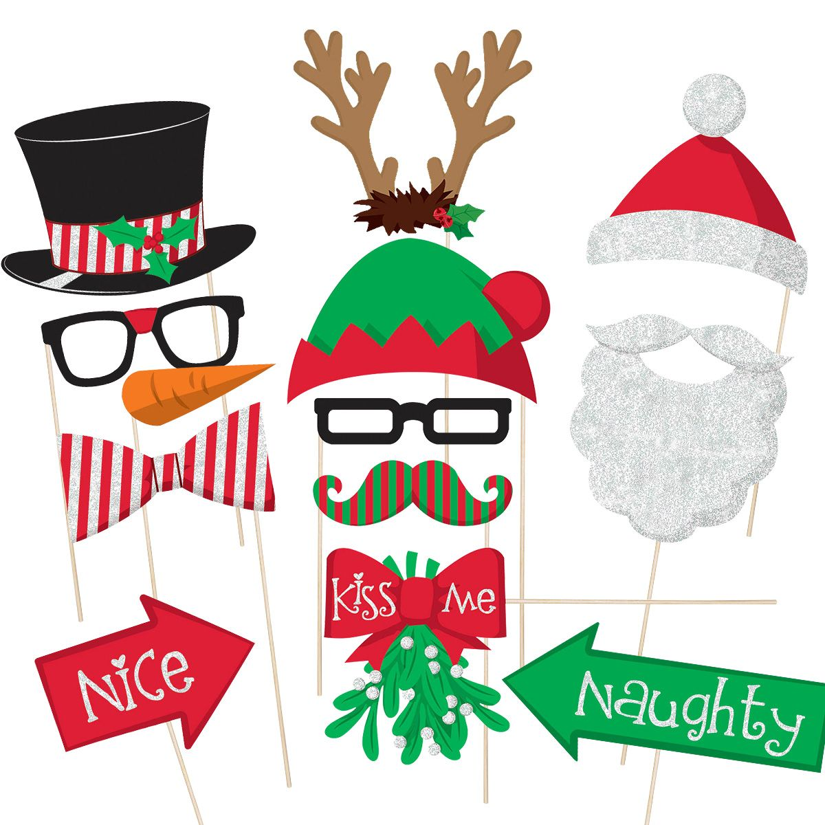 Christmas Party Photo Props Christmas Photo Prop Kit