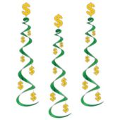 Dollar Sign Hanging Whirl Decorations-3 Per Unit